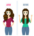 straightening hair concept ad poster card with vector image vector image