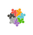 teamwork people circle in puzzle pieces logo vector image vector image