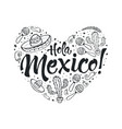 viva mexico heart vector image vector image