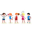 cartoon kids sports characters set vector image