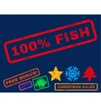 100 Percent Fish Rubber Stamp vector image vector image