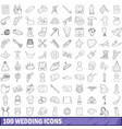 100 wedding icons set outline style vector image vector image