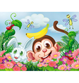 A monkey and a rabbit at the garden with insects vector image vector image