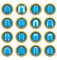 arch set icons blue circle set vector image vector image