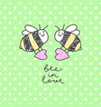 bee in love card vector image vector image