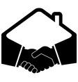 black handshake icon vector image vector image