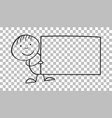 cartoon kid with placard in their hands in line vector image vector image
