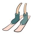 Cartoon leg skiing sign vector image vector image