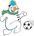 Cartoon snowman playing soccer vector image vector image