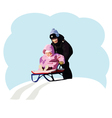 children are playing with sled vector image