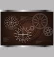 cogwheels on a brown vector image vector image
