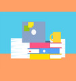 collection of office stuff vector image vector image