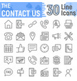 contact us line icon set web symbols collection vector image