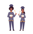 cooks couple professional chefs holding plates vector image vector image