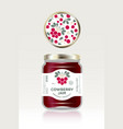 cowberry jam label packaging can lid pattern vector image vector image