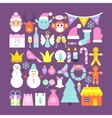 Cute Merry Christmas Objects vector image vector image
