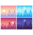 daytime cityscape morning day and night city vector image vector image