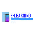 e-learning smartphone and book isolated on white vector image vector image