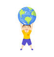 flat boy lifting planet earth icon high vector image vector image