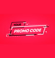 flat promo code coupon banner design vector image vector image