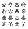 flower line icon set vector image vector image
