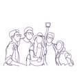 group of people taking together selfie photo with vector image vector image