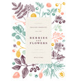 hand drawn berries greeting card or invitation in vector image