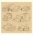 hand drawn books sketch grunge icons set vector image vector image