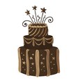 Hand drawn chocolate celebration cake vector image vector image