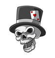 head skull with black hat and heart vector image