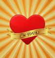 Heart with ribbon and phrase I Am Yours vector image