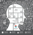 Infographic Head jigsaw with doodles line vector image vector image