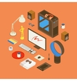 Isometric items from the digital artist workplace vector image vector image