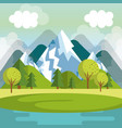 landscape with mountains and lake scene vector image