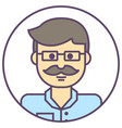 man avatar man in glasses icon man with mustache vector image