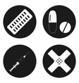 medical icons set in circle button vector image vector image