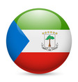 Round glossy icon of equatorial guinea vector image vector image