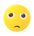 Sad emoticon icon cartoon style vector image