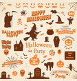 set halloween labels and elements vector image vector image