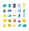 set icons of cyber security vector image vector image