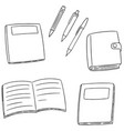 set of notebook pen and pencil vector image vector image