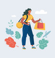 shopaholic with bags on white vector image