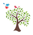 Stylized tree and birds in love vector image vector image