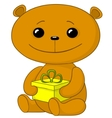 teddy bear with a gift box vector image vector image