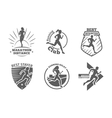 Vintage running club labels and emblems vector image