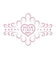 vintage valentines day emblem vector image vector image