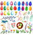 Watercolor easter elements collection