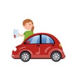 woman standing behind of red car and showing paper vector image