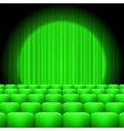 Green Curtains with Spotlight and Seats vector image