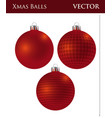a set of dark red christmas balls vector image vector image